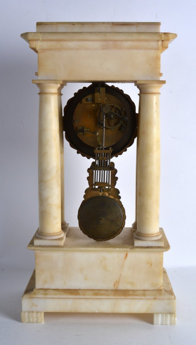 A LATE 19TH CENTURY CARVED ALABASTER PORTICO CLOCK with - 2