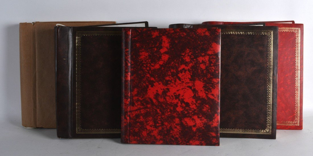 A GROUP OF FIVE STAMP ALBUMS mostly used predecimal.