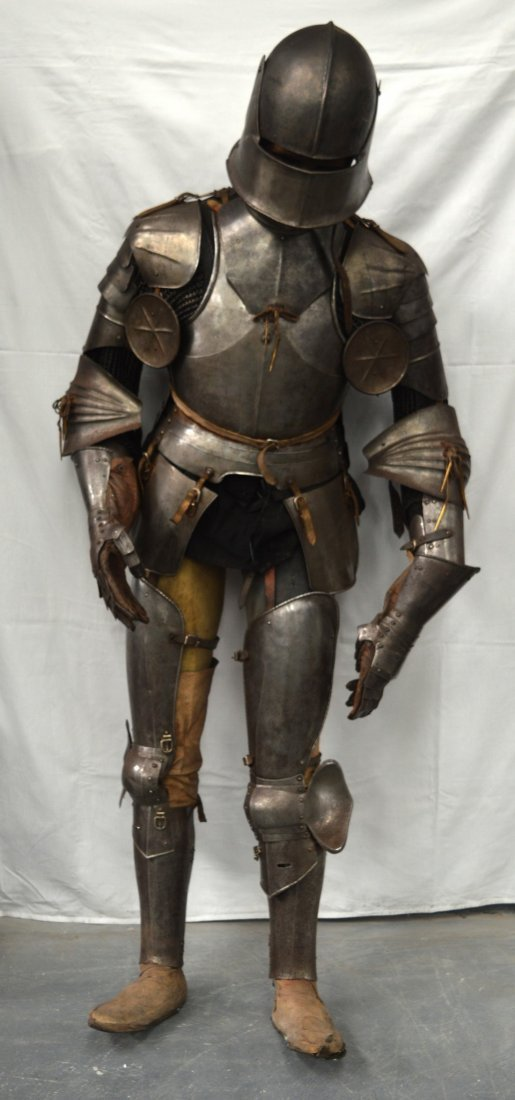A LOVELY LATE VICTORIAN SUIT OF ARMOUR contained upon a