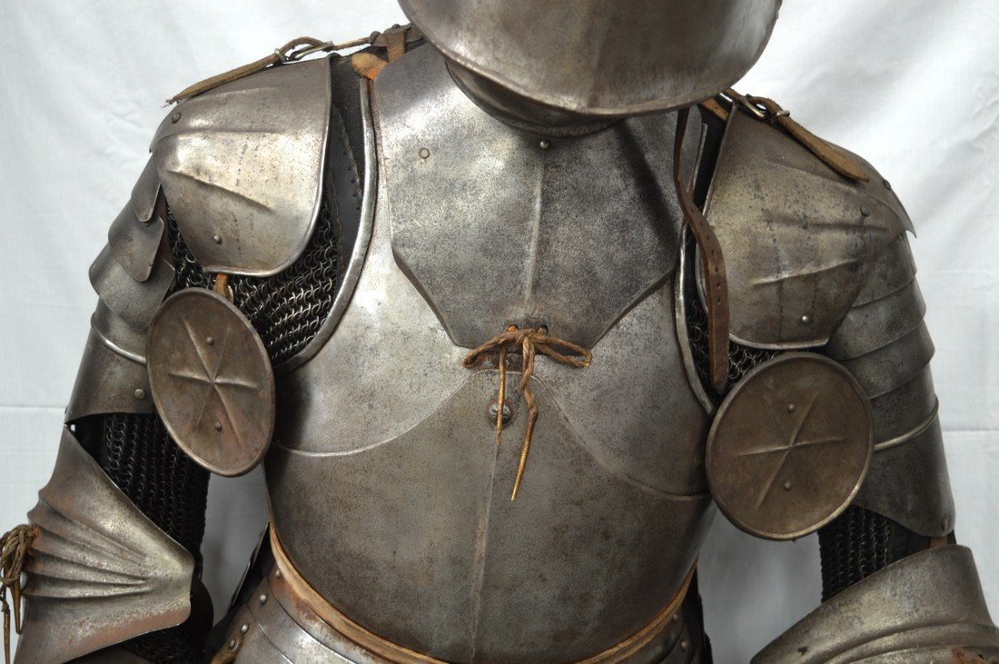A LOVELY LATE VICTORIAN SUIT OF ARMOUR contained upon a - 3
