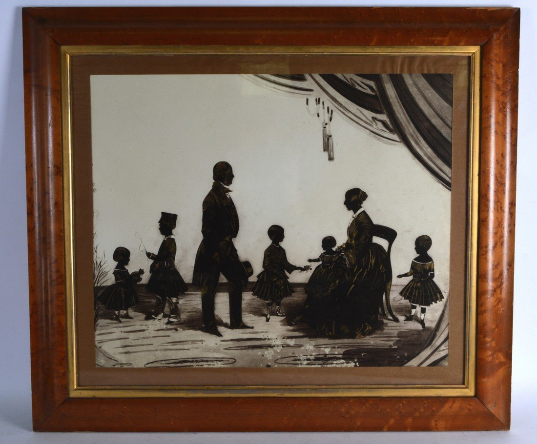 Group Silhouette, Framed, 'Family within an interior'.