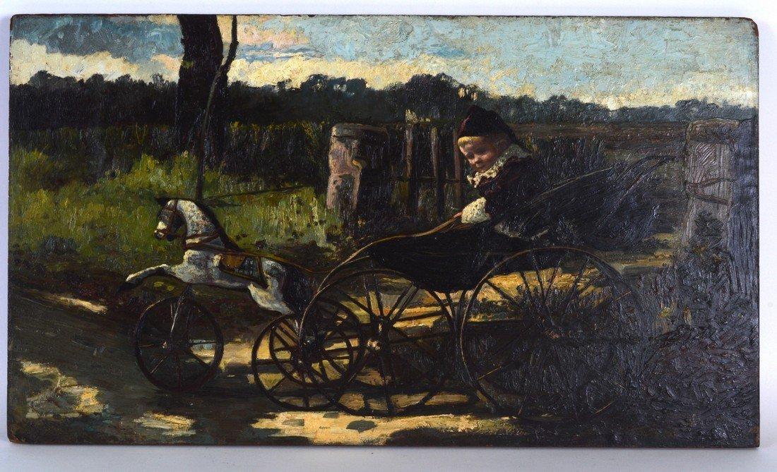 "BRITISH SCHOOL (VICTORIAN), Oil on Panel, ""Boy Racer"","