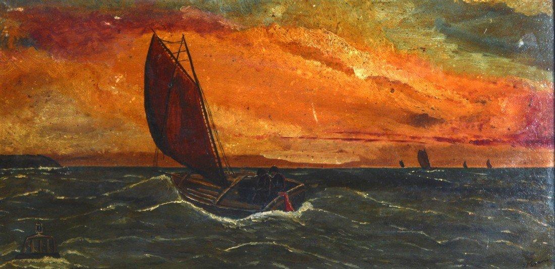 English School (C1900) British, Framed oil on board,