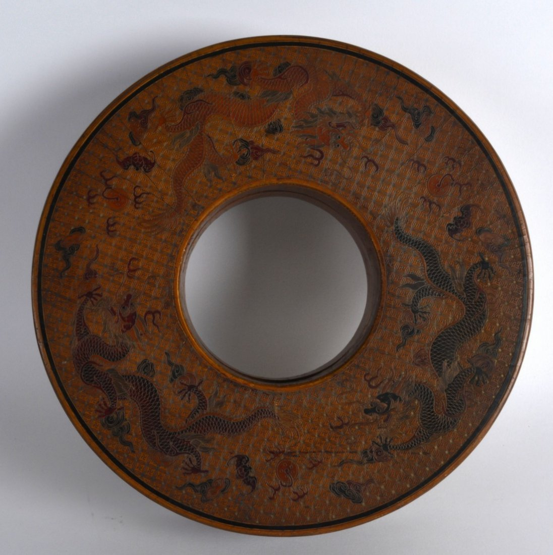 A CHINESE BROWN LACQUER CIRCULAR BOX AND COVER bearing - 2