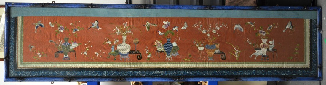 A VERY LARGE 19TH CENTURY CHINESE FRAMED SILKWORK PANEL