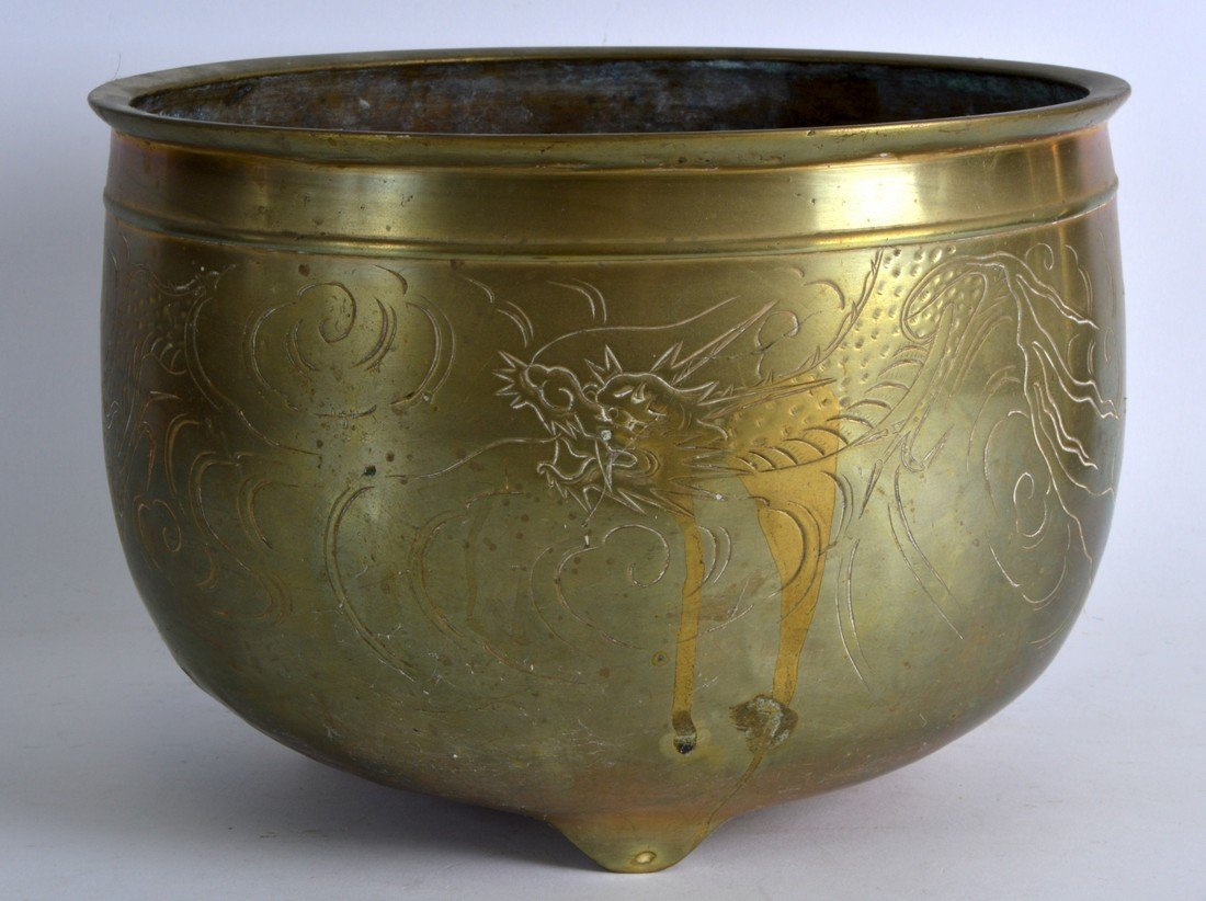 A LATE 19TH CENTURY CHINESE CIRCULAR BRONZE CENSER