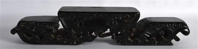 AN UNUSUAL CHINESE QING DYNASTY CARVED HARDWOOD STAND