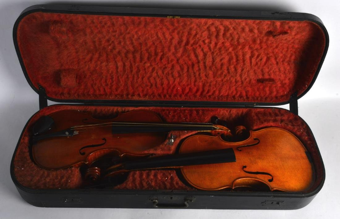 A RARE PAIR OF EARLY 20TH CENTURY ENGLISH VIOLINS