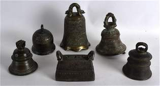 A 19TH CENTURY CHINESE BRONZE BELL bearing Xuande marks