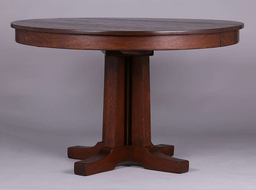 "L&JG Stickley Prairie School 48""d Dining Table"