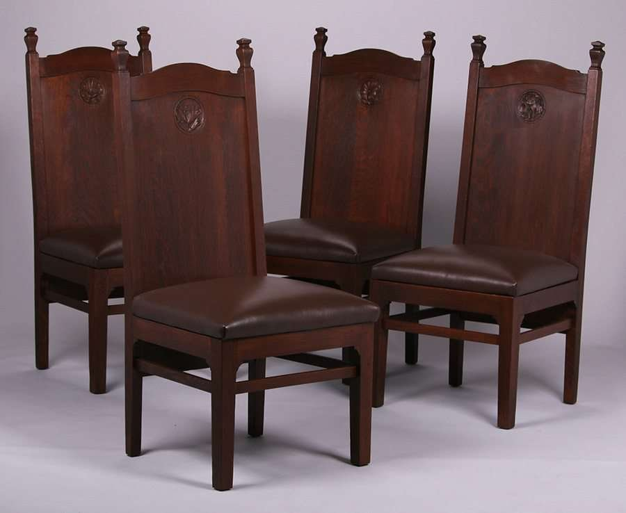 4 Mathews Furniture Shop Chair With Carved Poppies
