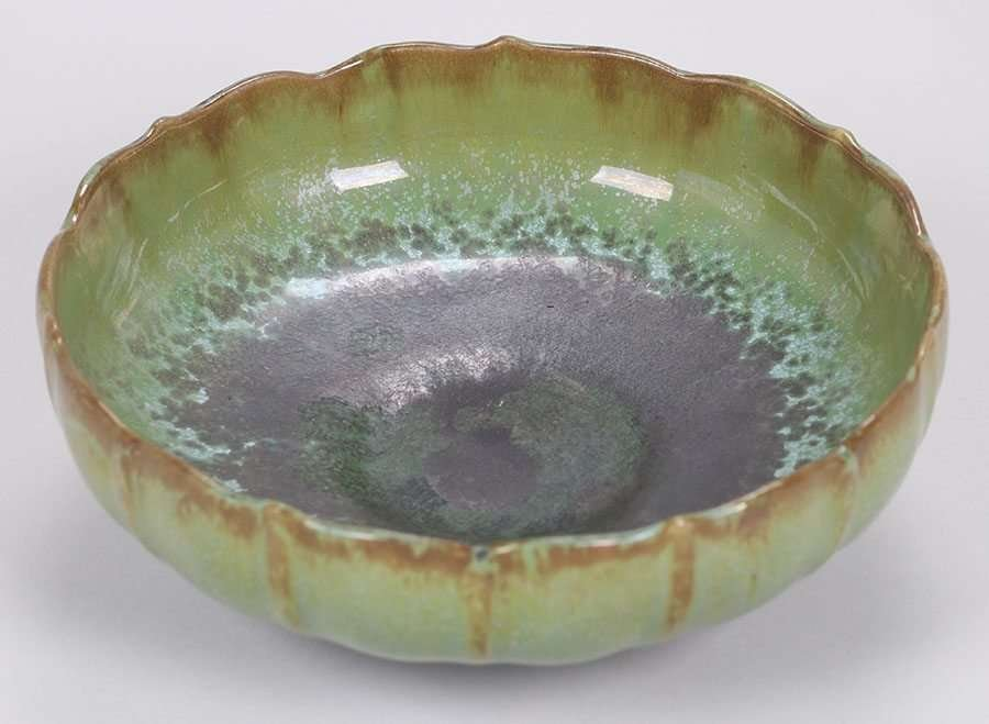 Fulper Pottery Fruit Bowl Leopardskin Glaze