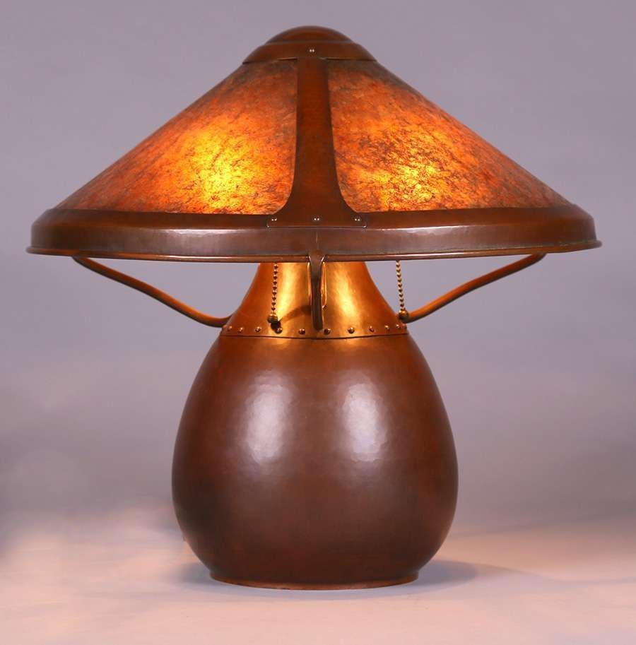 Dirk van Erp Hammered Copper & Mica Lamp c1914