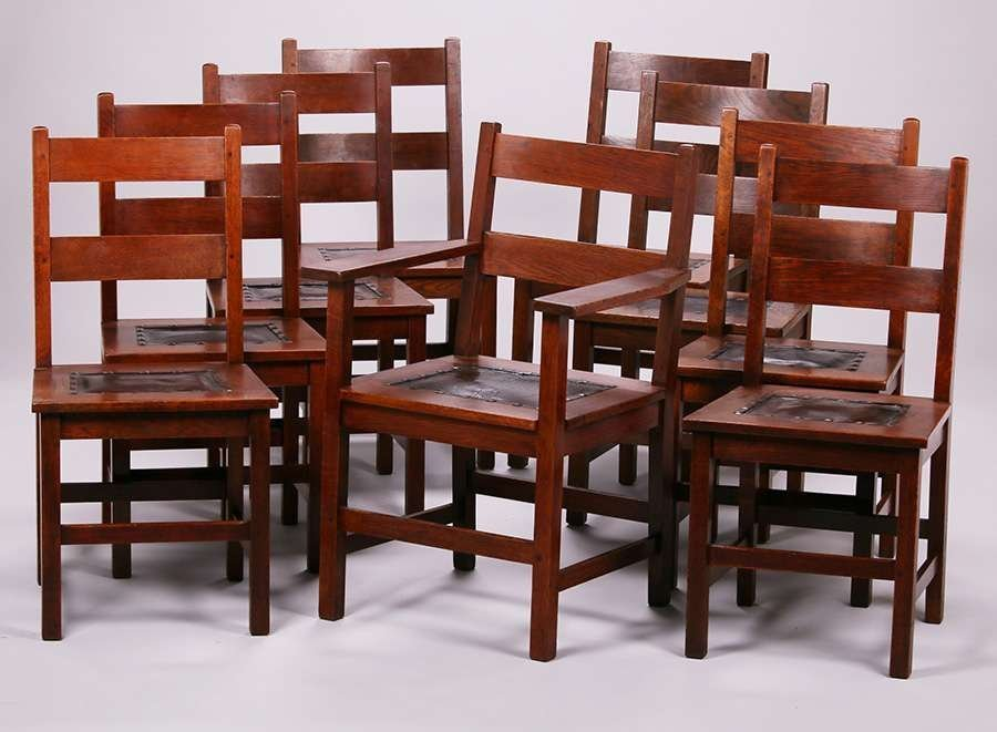 9 gustav stickley double ladder back dining chairs