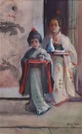 Helen Hyde Watercolor Two Japanese Girls 1904