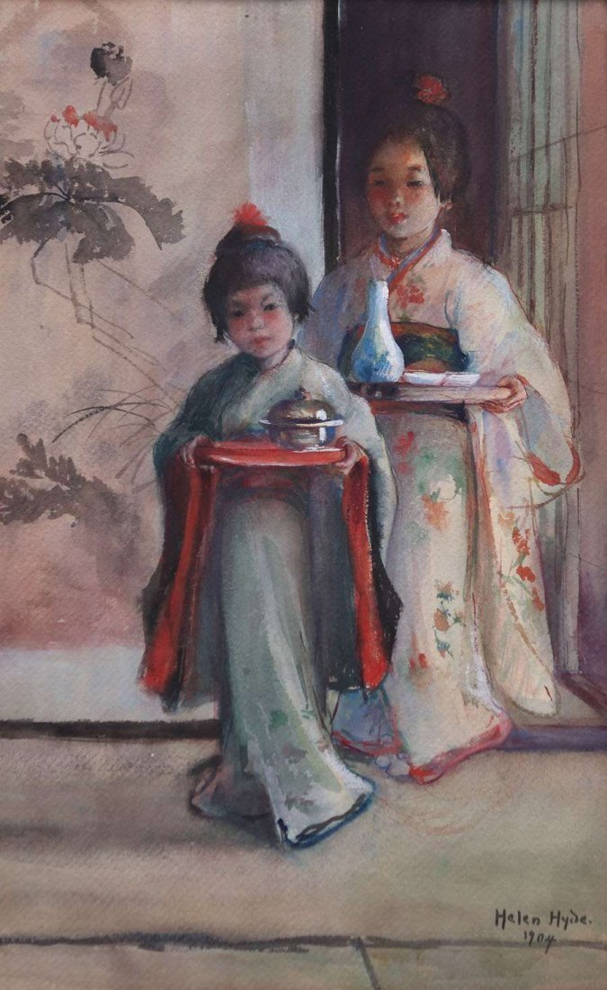Helen Hyde Watercolor Two Japanese Girls 1904