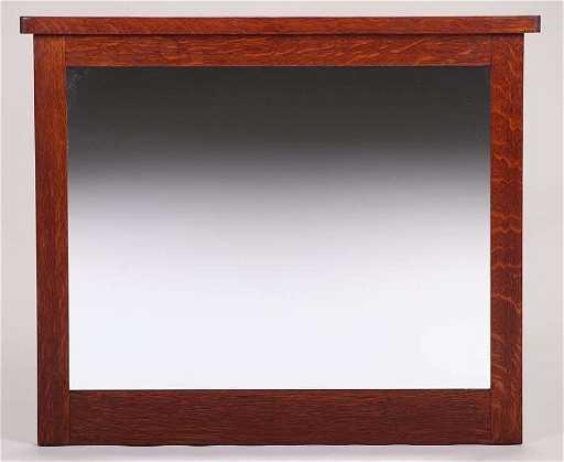 L&JG Stickley Oak Framed Mirror c1912-1916