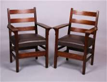 Pair Gustav Stickley 306A Ladderback Armchairs