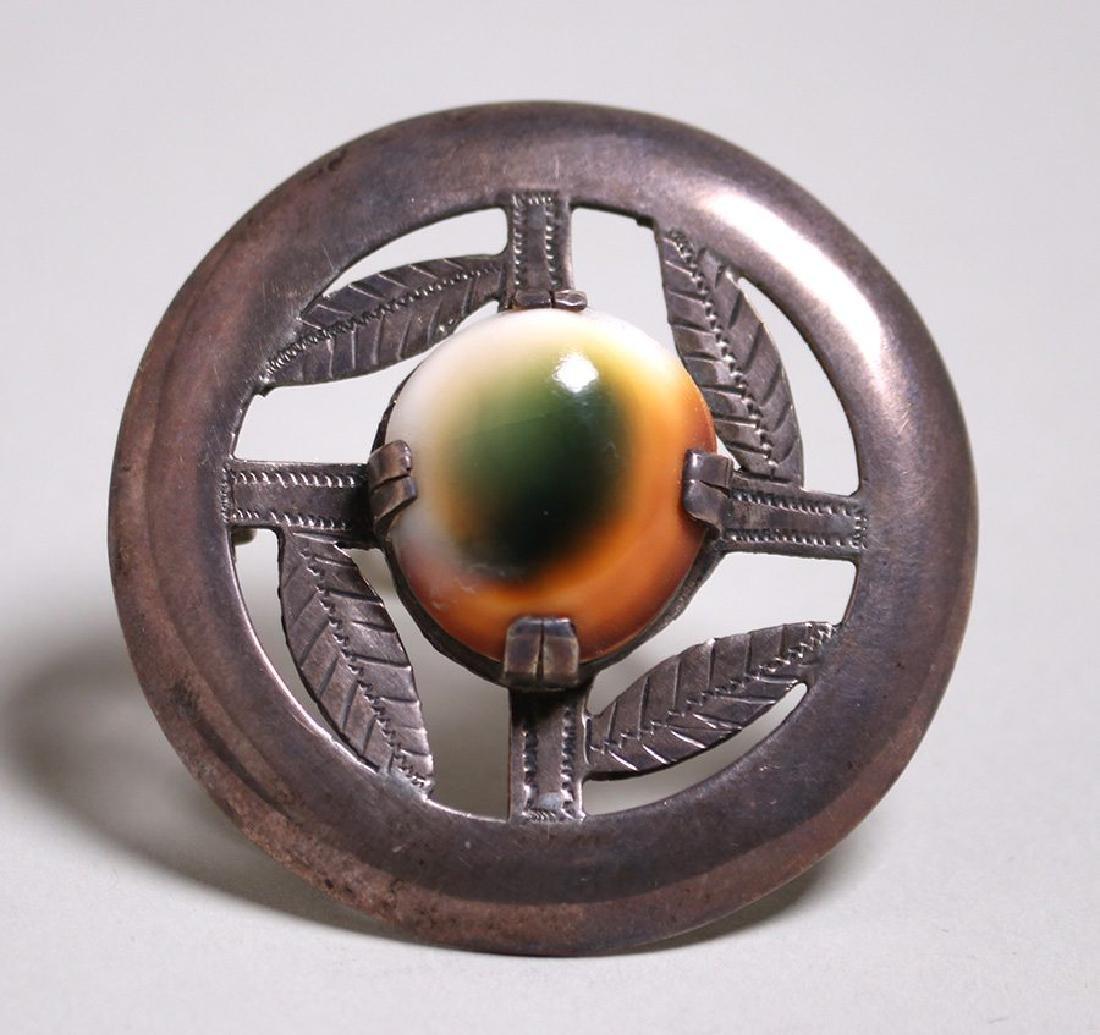 Arts & Crafts Sterling Silver Circular Brooch