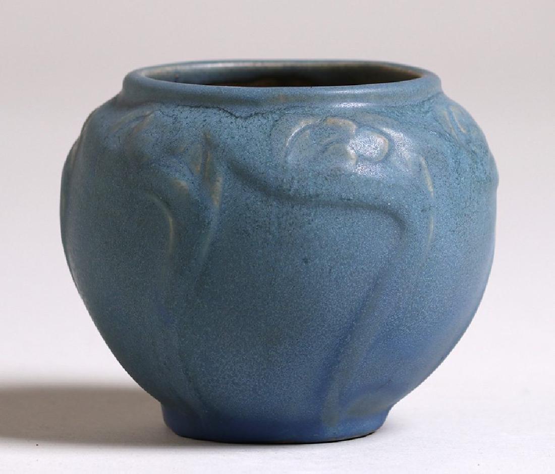 Early Van Briggle #695 Dark Matte Blue Vase c1908-1911