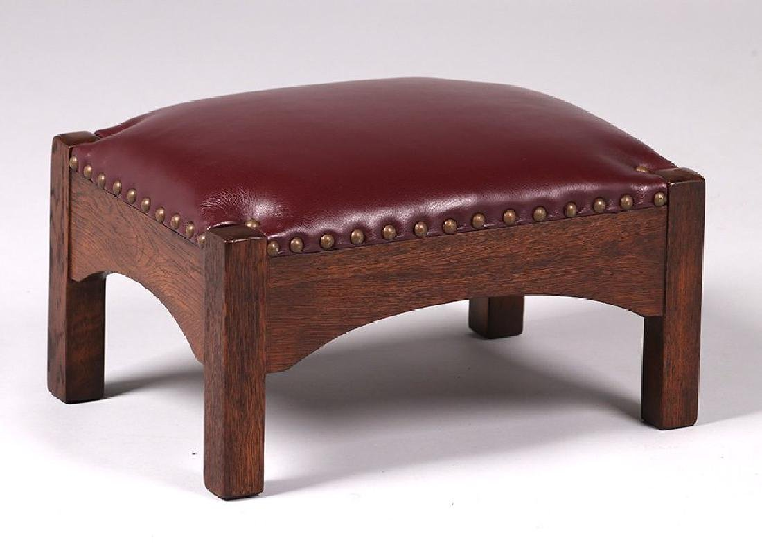 Arts & Crafts short oak footstool