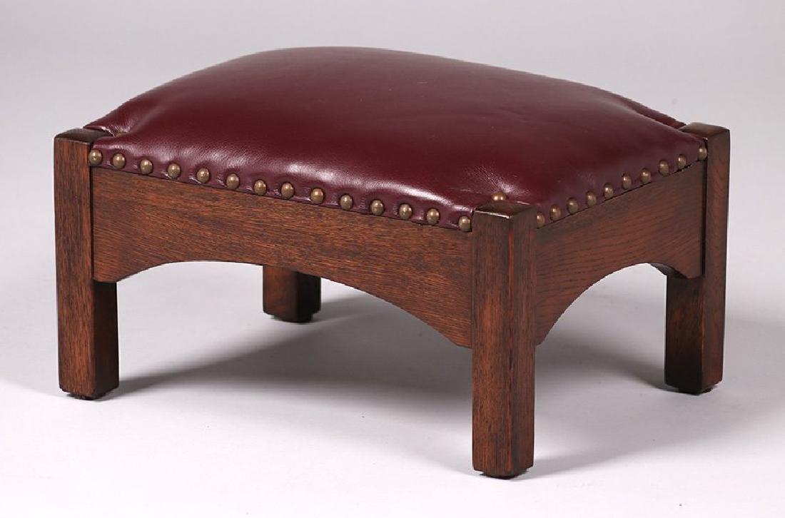 Arts & Crafts Short Oak Footstool - 2