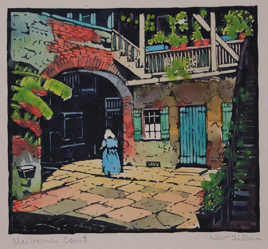 Clarence Millet (1897-1959) woodblock print entitled