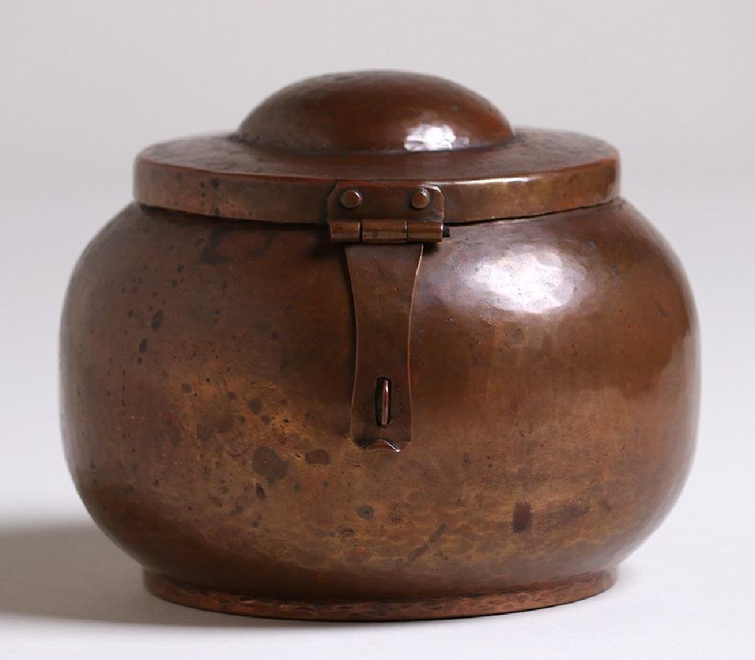 Dirk van Erp hammered copper spherical canister