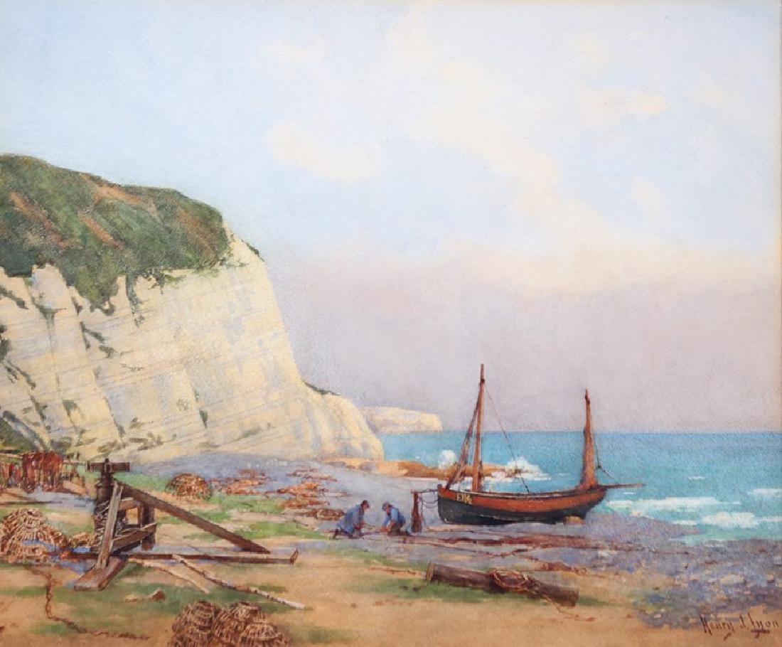 Henry J. Lyon (1897-1933) watercolor of Beer, Devon, on