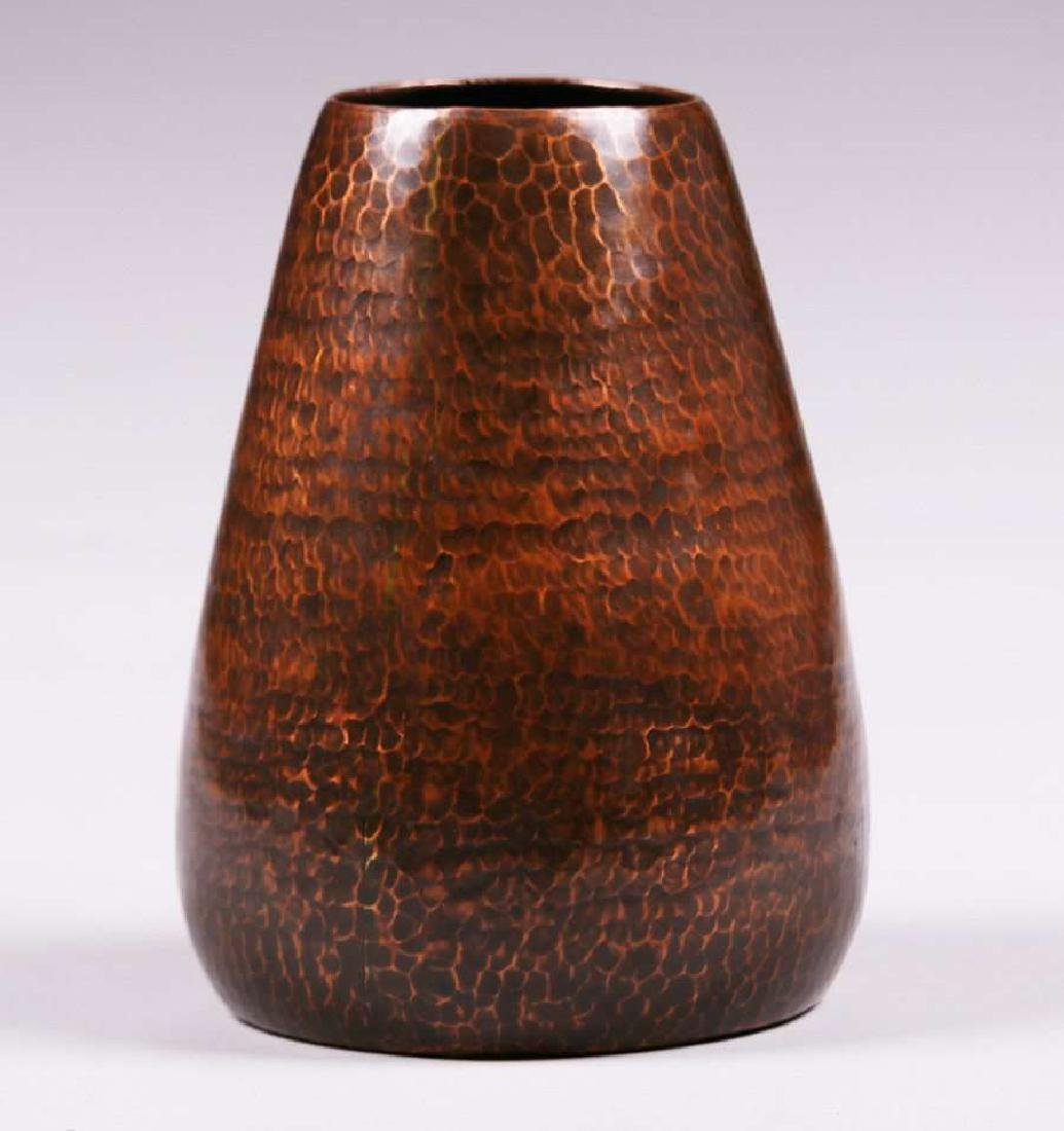 Early Dirk van Erp hammered copper tapered vase