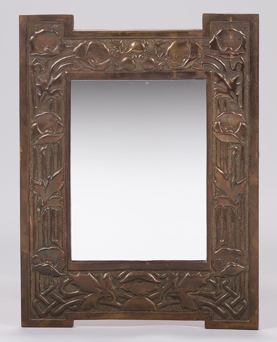 English Arts & Crafts brass repousse mirror c1910.
