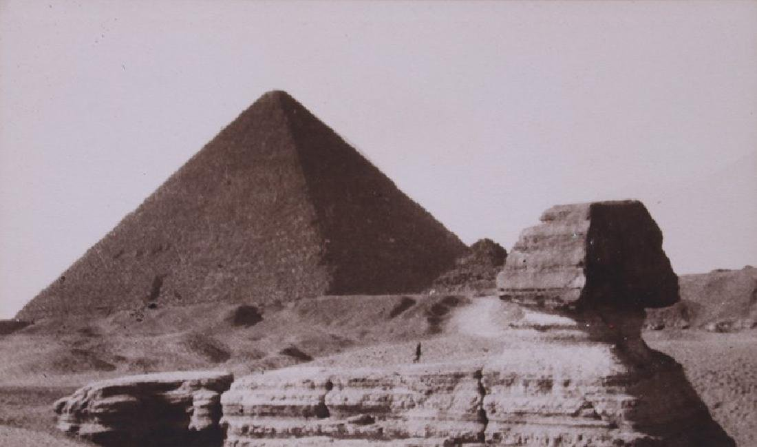 Antique photo of Egypt's Great Pyramid and Sphinx