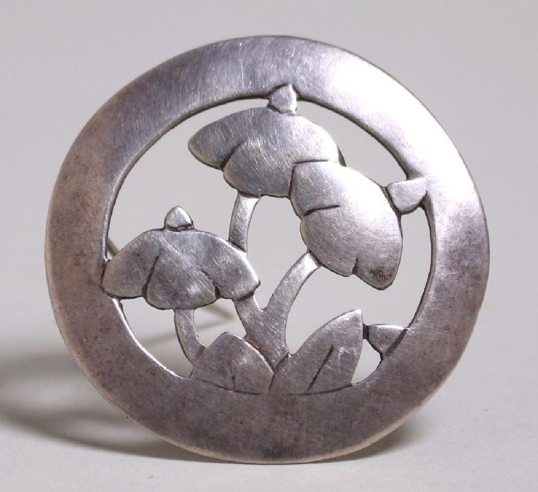 Arts & Crafts sterling silver cutout mushroom brooch