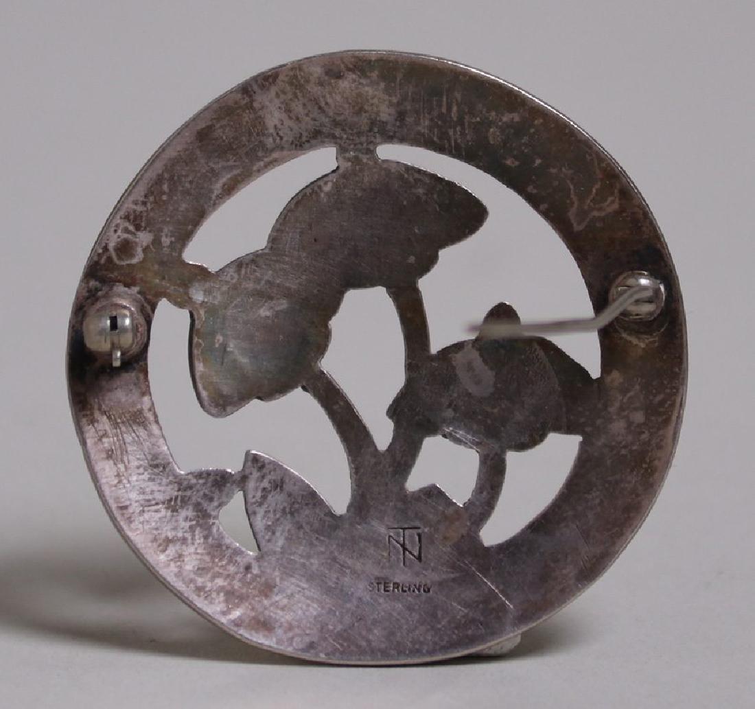 Arts & Crafts sterling silver cutout mushroom brooch - 2