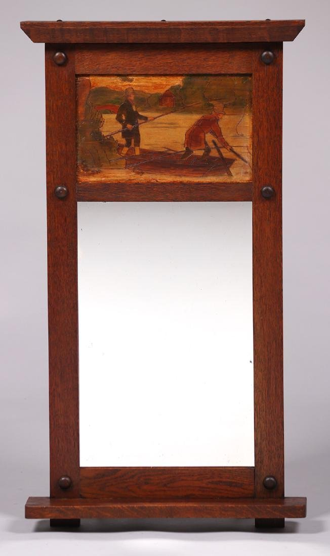 Arts & Crafts oak mirror with inset pyrography panel