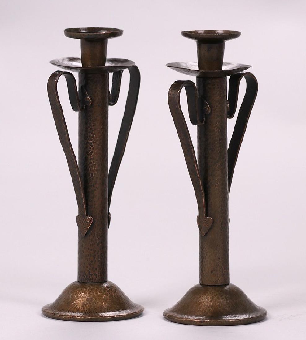 Onondaga Metal Shops Hammered Copper Candlesticks