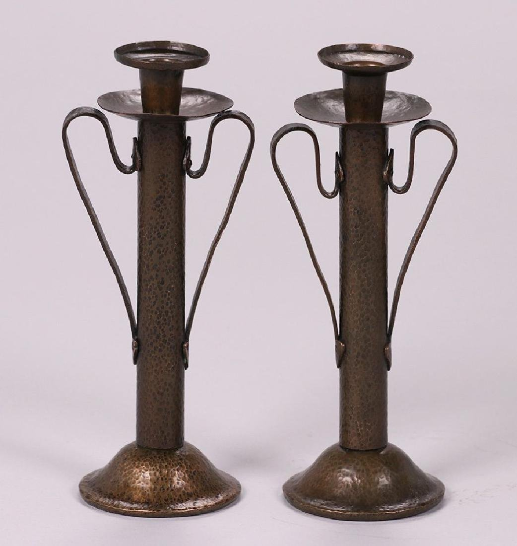 Onondaga Metal Shops Hammered Copper Candlesticks - 2