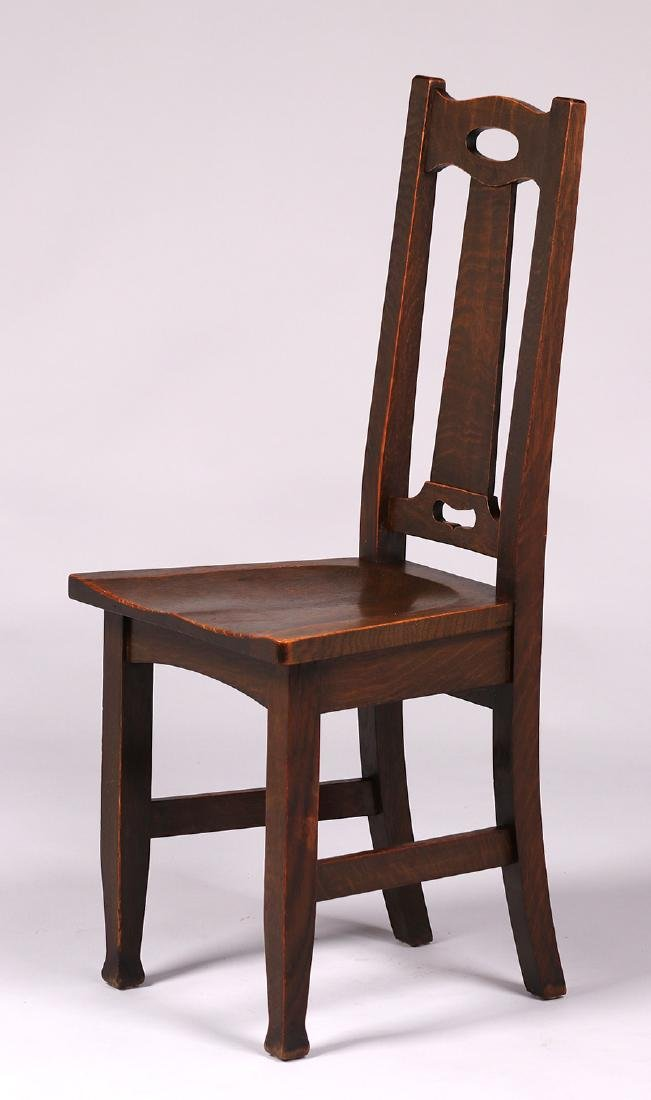 Stickley Brothers side chair with cutout handle back.