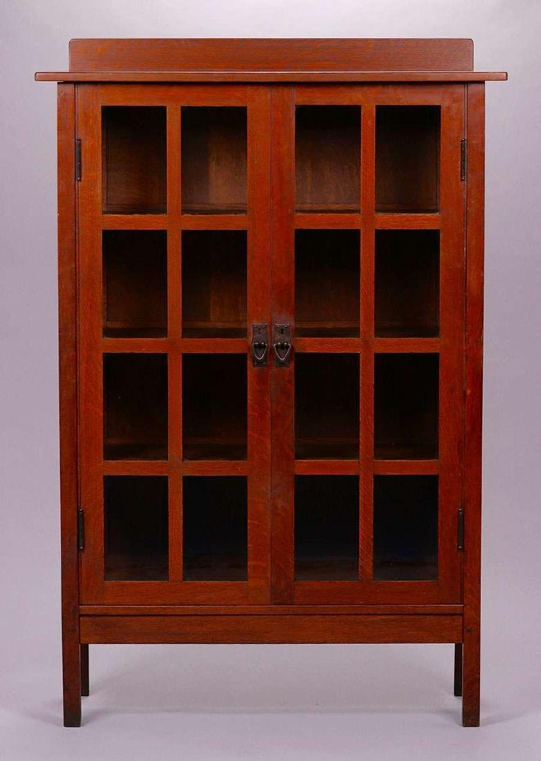 Gustav Stickley two-door china cabinet c1910.