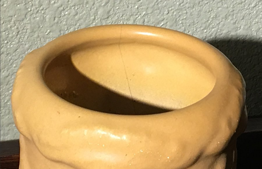 Early Van Briggle Matte Mustard Vase #135 Dated 1903 - 5