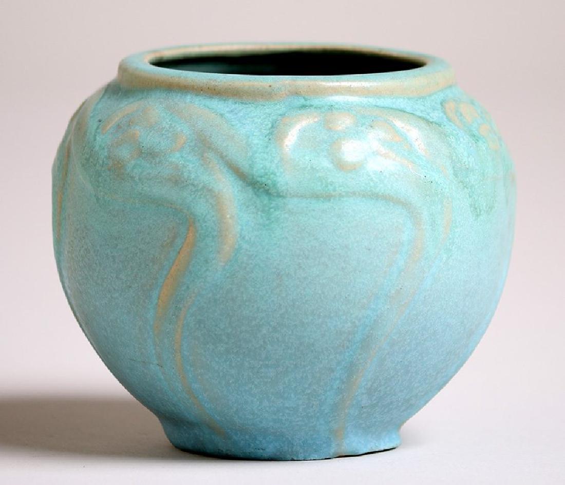 Van Briggle #695 Spherical Matte Turquoise Vase