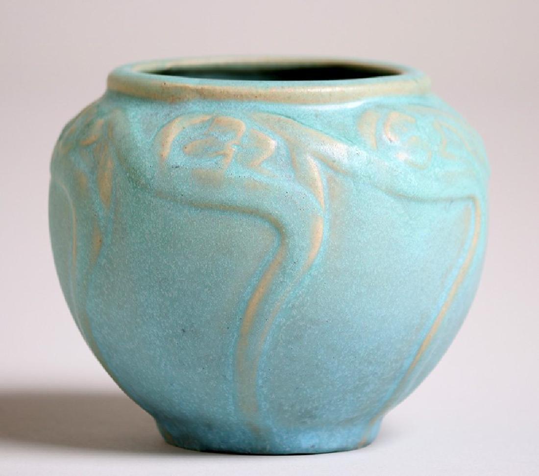 Van Briggle #695 Spherical Matte Turquoise Vase - 2