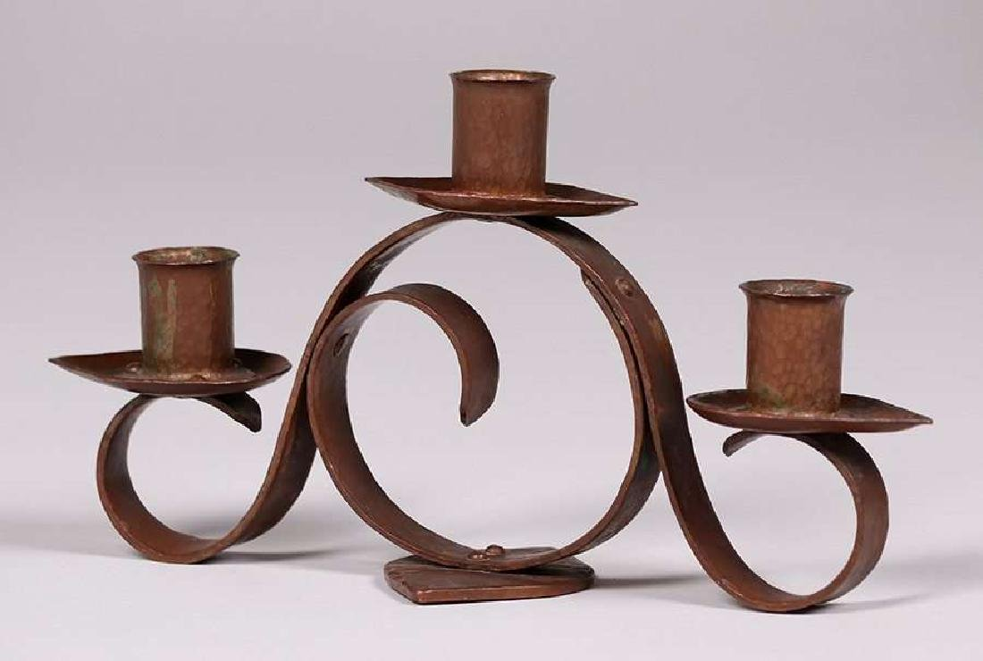 Frederick Fifield Hammered Copper Candelabra
