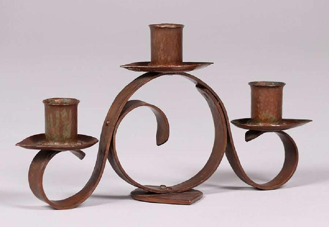 Frederick Fifield Hammered Copper Candelabra - 2