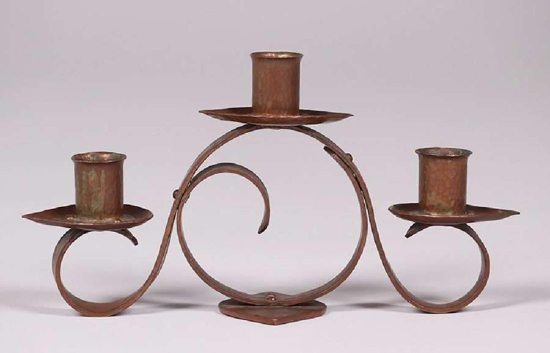 Frederick Fifield Hammered Copper Candelabra - 3