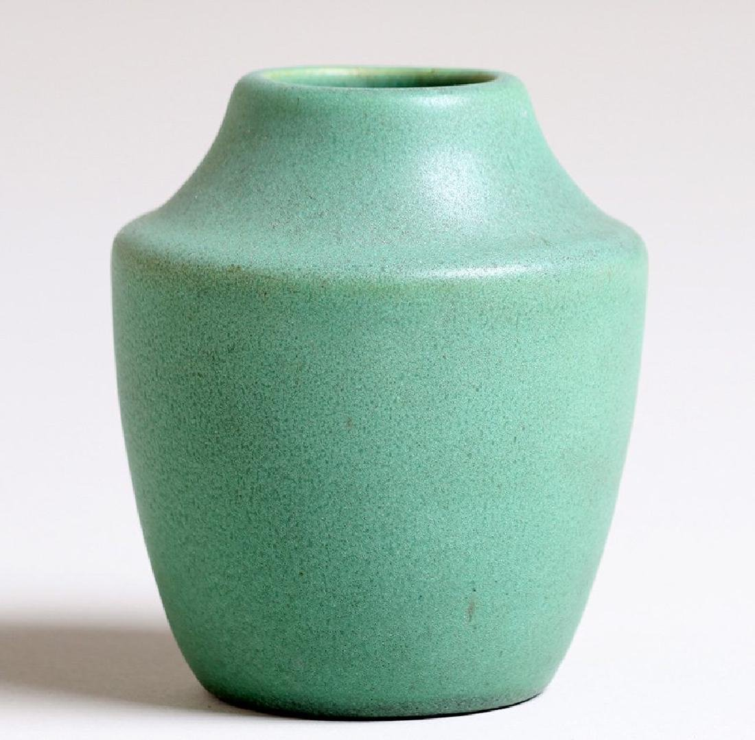 Teco Pottery matte green vase #366 designed by W.D.