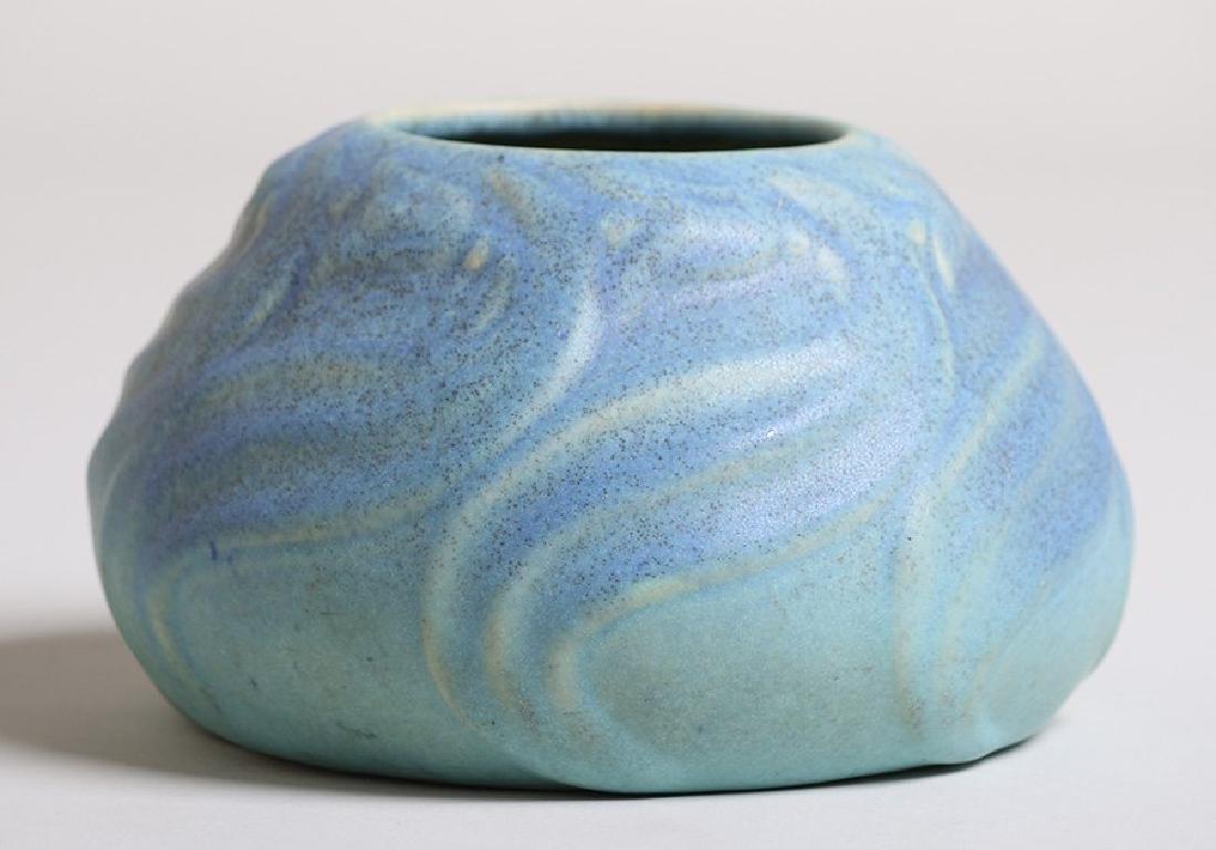 Van Briggle Squat Vase #849 Matte Blue Glaze - 3