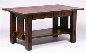 California Arts & Crafts Two-Drawer Oak Library Table