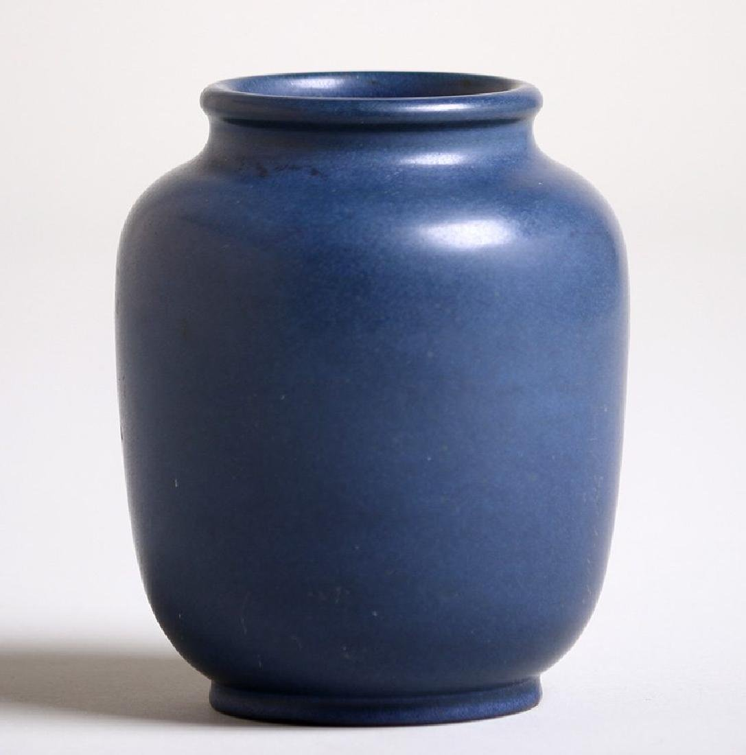Marblehead Pottery matte blue vase.