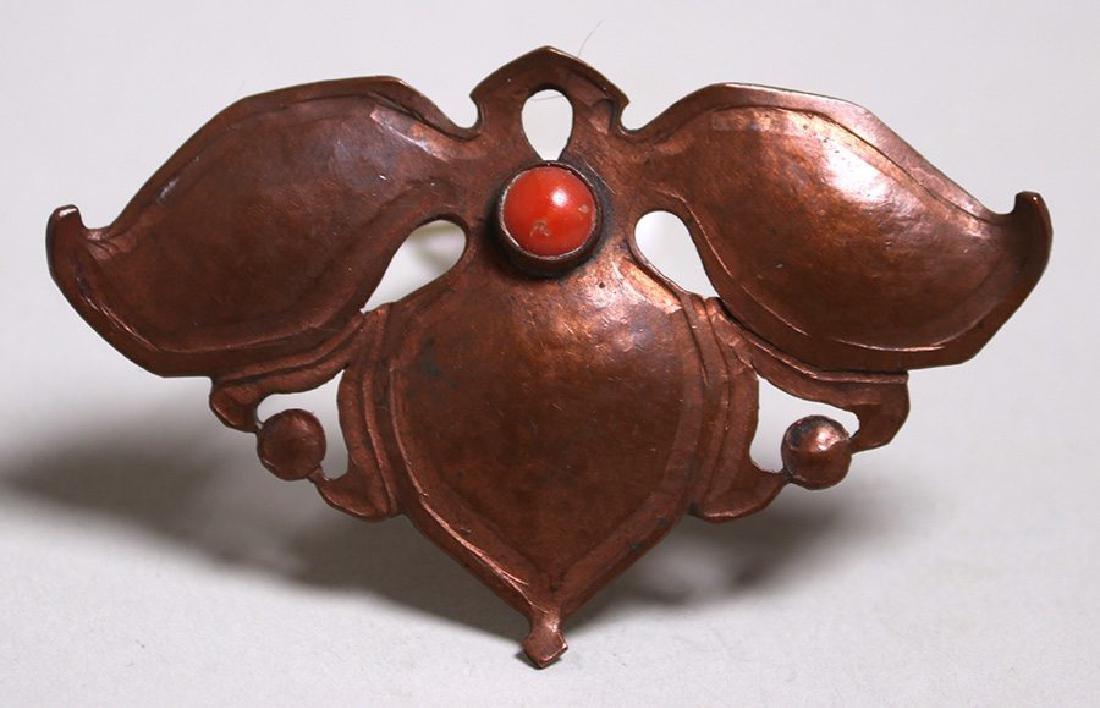 Arts & Crafts Hammered Copper Cutout Leaf Brooch